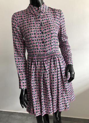 Платье manoush мануш розовое в принт с длинным рукавом