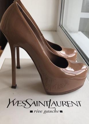 Туфли ysl ив сен лоран оригинал лаковые беж