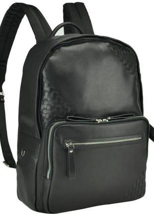 Компактный мужской кожаный рюкзак стильный  анатомическая спинка