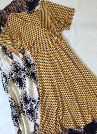 Горчичное платье в полоску из лёгкого трикотажа debenhams разм...