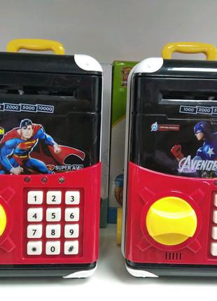 Детская электронная музыкальная копилка мини сейф Marvel игрушка