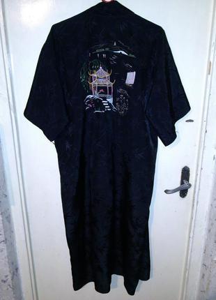 Вискозный,роскошный,карманами и вышивкой халат-кимоно,большого...
