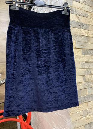Юбка шикарная велюровая  темно-синяя  по фигуре  тянется
