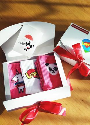 Подарочный набор женский носки 3 шт. love is, единорог розовый...