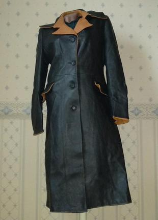 Длинный кожаный плащ/пальто/тренч