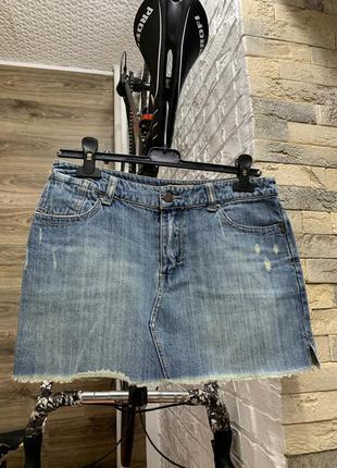 Юбка джинсовая мини с потёртостями