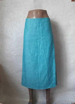 Новая летняя юбка миди на запах со 100 % льна в голубом цвете,...