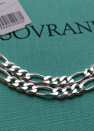 Серебряная цепочка цепь картье фигаро панцирное плетение 60 см...
