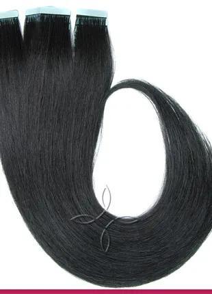 Волосы для Наращивания на Лентах 50 см 100 грамм, Черный №01
