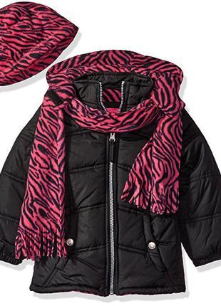 Теплая куртка pink platinum, с шапочкой и шарфом. размер 5/6