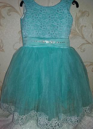 Нарядное платье на девочку бирюза 3-4г