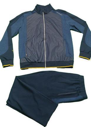 Мужской спортивный костюм billcee тёмно-синий с желтыми кантом