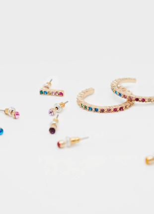 Набор сережек серьги 12 пар гвоздики разноцветные кольца полук...