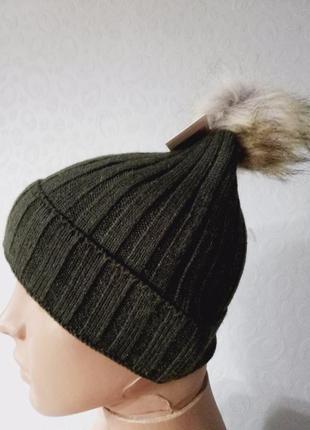 Детская шапка демисезон с помпоном