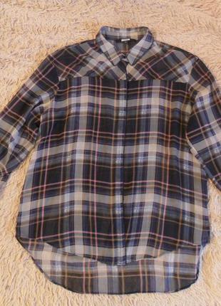 Модная, женская блузка бренда next, прозрачная в клетку