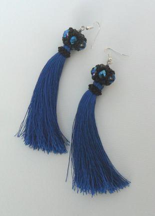 Длинные, вечерние серьги-кисти синего цвета