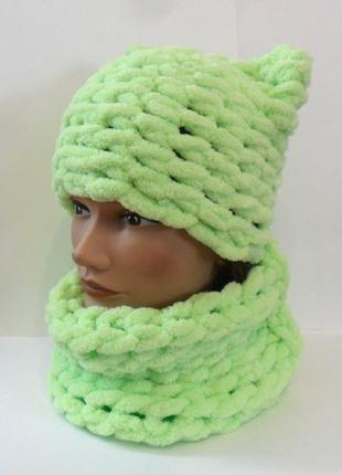 Мягкий комплект шапка и снуд для девочки.