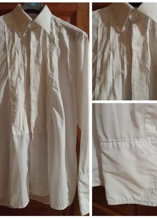Белая рубашка сорочка под смокинг рукав запонки . большой размер