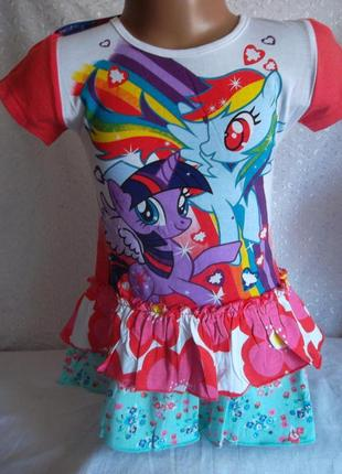 Платье -туничка на девочку пони 1-3г