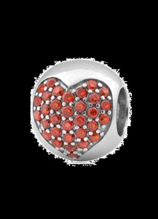 Пандора серебро 925 шарм сердце красное п027