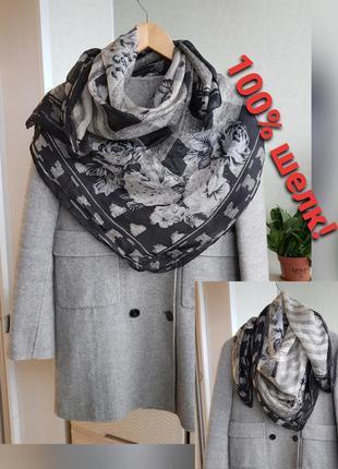 Большой шелковый платок черно-белый шарф палантин 1 м×1м натур...
