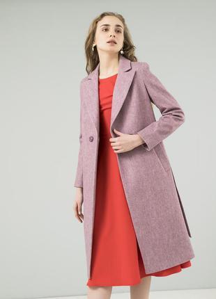 Женское пальто season диагональ темно-розового цвета
