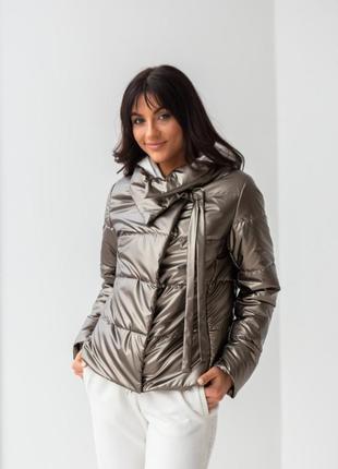 Куртка женская, короткая, утепленная, синтепух, платина, демис...