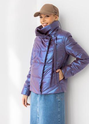 Куртка женская, короткая, утепленная, синтепух, бургунди, деми...