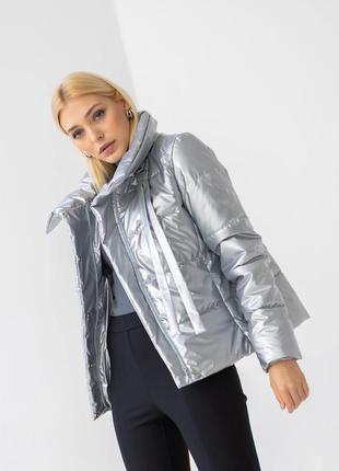 Куртка женская, короткая, утепленная, синтепух, металлик, деми...