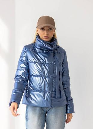 Куртка женская, короткая, утепленная, синтепух, джинс, демисез...