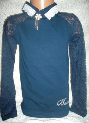 Блузка на девочку синяя 152р 176р