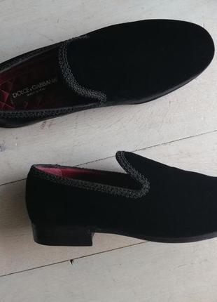 Dolce & gabbana бархатные слиперы, пенни лоферы, туфли.