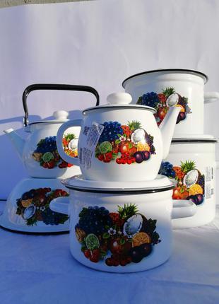 """Набор эмалированной посуды """"Тропиканка"""", набор кастрюль, кастрюли"""