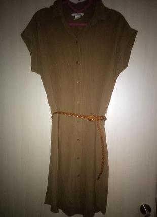 Платье рубашка хаки вискоза