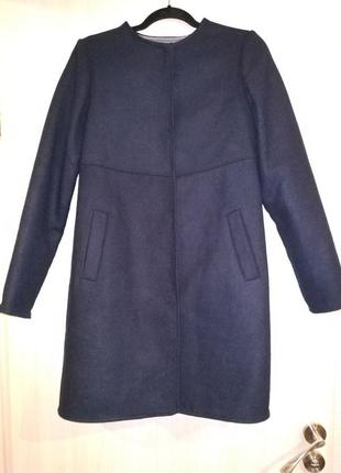 Синее шерстяное пальто 36