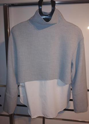 Удлиненная рубашка zara двойка рубашка свитшот туника