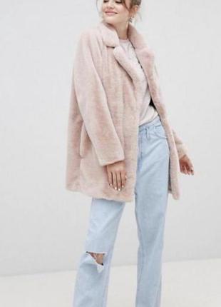 Розовая плюшевая шуба из эко меха оверсайз new look