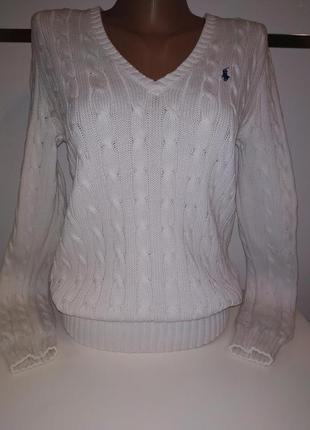 Белый котоновый свитер пуловер джемпер с косами ralph louren