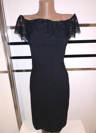 Черное стрейчевое платье с кружевом на косточках корсет