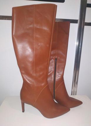 Новые кожаные рыжие коричневые сапоги на шпильке острый носок ...