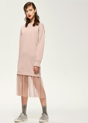 Платье худи с тюлем удлиненный реглан толстовка пыльная роза r...