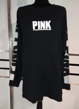 Платье худи реглан толстовка удлиненная оверсайз pink viktoria...