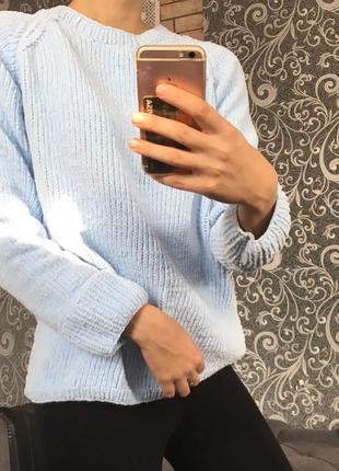 Голубой свитер, вязаный, ручная работа