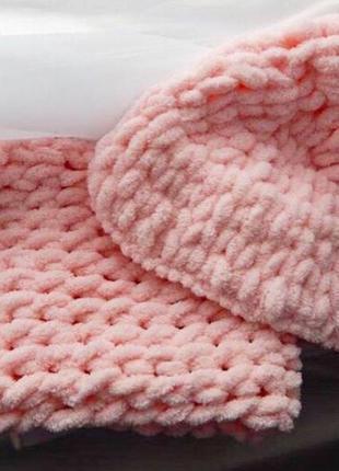 Плюшевая шапка, шапочка, ручная работа, хомут, снуд, шарф