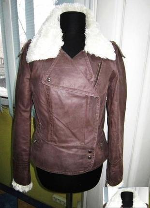 Модная оригинальная женская кожаная куртка-косуха clockhouse. ...
