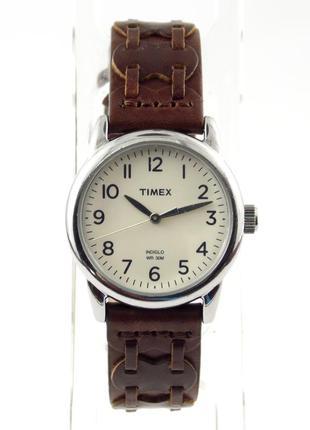 Timex классические часы из сша кожаный ремешок подсветка indiglo