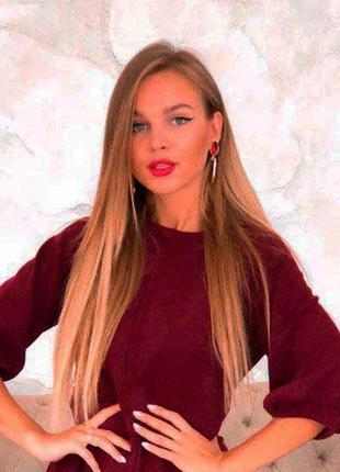 Лонгслив свитшот пуловер  рукава фонарики бордовый трикотаж