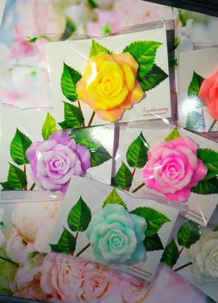 Мыло роза с открыткой,мыло ручной работы,цветы из мыла