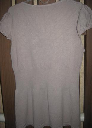 Трикотажная блуза с атласным бантиком