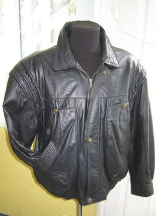 Большая кожаная мужская куртка (бомбер) berto lucci. италия. л...